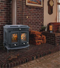 cast iron wood burning stove, freestanding fireplace, classical stove