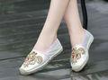 nuevos diseños 2015 chicas jóvenes alpargatasparte diamantes de imitación zapatos de las mujeres de consuelo de alta calidad de cristal de la plantilla de yute pisos zapatos de lona