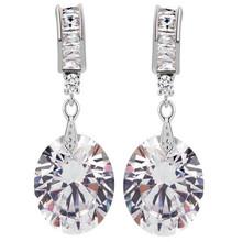 Belle pendentif boucles d'oreilles cuivre inlay galvanoplastie blanc couleur pour dames parti de mariée zircon boucle d'oreille goutte