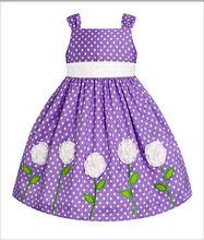 Lilac & White Polka Dot Rosette Dress - Infant, Toddler & Girls