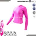 las mujeres de compresión superior jersey camisas de pieles de color rosa