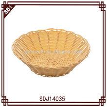 SD handmade round woven plastic tabletop bread basket