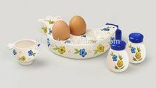 stoneware handpainted egg holder