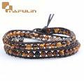 2014 de lujo de moda venta caliente el tigre's grano de ojo de pulseras y brazaletes de color marrón oscuro de la cuerda de cuero