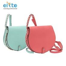 European design red or blue PU hand bags w/rivets, ladies bag