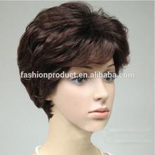 2014 High Quality Fashion Older Women Unique Design Hair Fluffy Brown Short Wigs