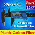 50pcs/lot frs1051 0-150mm electrónica vernier digital/lcd indicador de micrómetro/de fibra de carbono compuesto digital solar pinzas de color