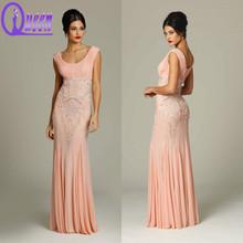 New Fashion Peach Color Heavy Beaded Patterns Bodice Ruffle Dresses Mermaid Chiffon Evening Dresses