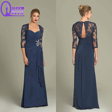 Elegant Navy Blue Lace Applique Flower Beaded on the Waist Long Chiffon Evening Dresses With Sleeve