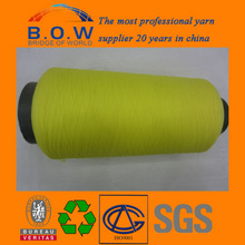 Fast delivery yarn dyed polyester yarn have elastic for sock/glove knitting