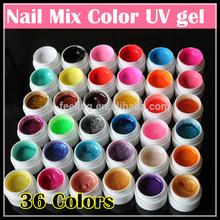 Wholesale 36 colors Nail UV gel Glitter Powder/ pure/ shimmer Color Nail gel