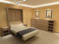 Moderne de luxe chambre hôtel meubles mur de lit