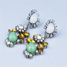 Fashion Vintage Crystal Drop Chandelier Dangle Green Emerald Earrings