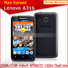 cheapest 4 Inch MTK6572 Dual Core 3G android smart phone lenovo A316 lenovo mobile phone