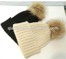 colourful neon beanie hat with raccoon fur top ball winter mink pom pom beanie