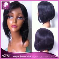 100% human hair bob full lace wigs virgin straight brazilian glueless full lace wig bob style