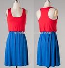 women Two tone rayon racer back game day dress women lady plus size day dress