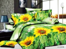 Yellow Floral Printed With Green 3D Polyester Bed Cover Set