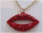 2014 Fashion lip gross with full stone pendant Necklace