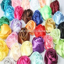 charming color satin rose flower -satin hair rosette flower Decorative Flowers