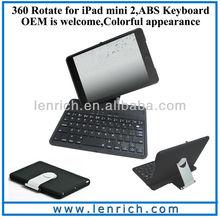 LBK145 360 degree rotating case bluetooth keyboard for ipad mini 2 case,for ipad mini case with keyboard