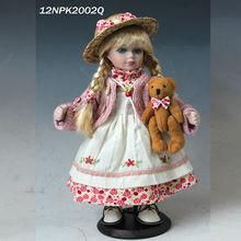 12 polegadas de pé design clássico estilo country antigas bonecas de cerâmica