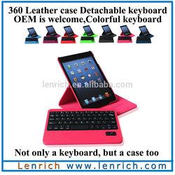 LBK137 360 degree Bluetooth keyboard for iPad mini with leather case