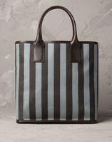 STRIPED canvas FABRIC shopping bags / shopper tote