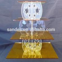 4-tier Smooth Golden Color Acrylic Cake Table with Star Shape Pillar Haigh Quality Acrylic Cake Table