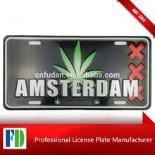 custom metal, amsterdam honda license plate