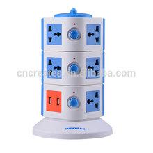 unique shape 5a vertical 12 way switch socket