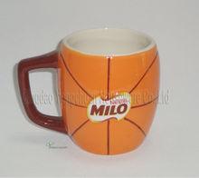 ceramic football embossed mug for wholesale, hand-painted decorative mug on promotion,basketball shaped mug
