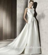Aestheticism A Line Sleeveless Satin Brush Train My Lady Wedding Dresses