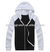 China Factory Zip Up Men Hoodies Wholesale/Two Tone Hoodies Custom