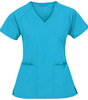 solid short sleeve tall mock wrap nurse scrub suit design
