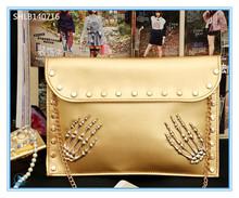 Wholesale - Fashion vintage 2014 Rivet envelope bag skeleton hand shoulder bag