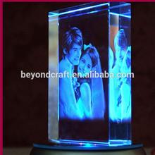 Significativa figura 3D laser crystal aniversario de boda de recuerdos