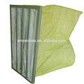 Saco do bolso sintético amarelo filtro de ar / filtração para HVAC