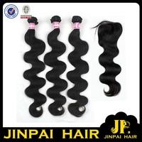 FREE SHIPPING 3 Pieces 12'' Hair With 10'' Closure JP Hair 6A Natural Color Cheap 100% Virgin Brazilian Hair