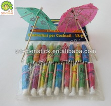 decorated disposable cocktail wooden umbrella toothpick