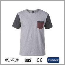 cheap price popular bulk wholesale gray men promotional cotton tshirts with pocket