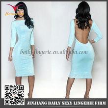 Beautiful mature women fashion royal blue bodycon dress