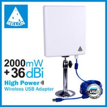 WiFiSKY 2000mW high power wifi usb adapter,Ralink3070,802.11N 150Mbps 2.4Ghz 36dBi inner antenna