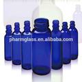 Amplia boca de cristal azul para mascotas de la píldora/polvo/cápsula de la botella al por mayor