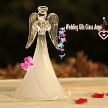 White frosted praying glass angel for home decoration