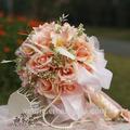 el yapımı champnge ipek kamelya çarpıcı kristal elmas gelinlik gelinlik düğün buket dekor