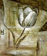 Handpainted White Rose Flower Oil Painting For Wall Art