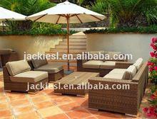 F63 Rattan furniture beach umbrella with chairs