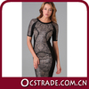 2014 formal cocktail dresses with short sleeves PU leather top quality