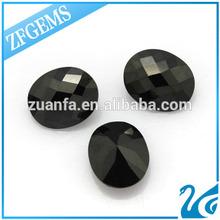 Good polishing oval shape black cubic zirconia oval costume gem